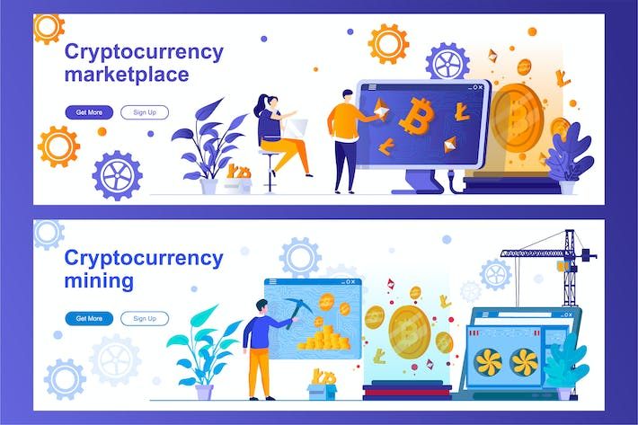 Cryptocurrency Mining and Marketplace Web Banners