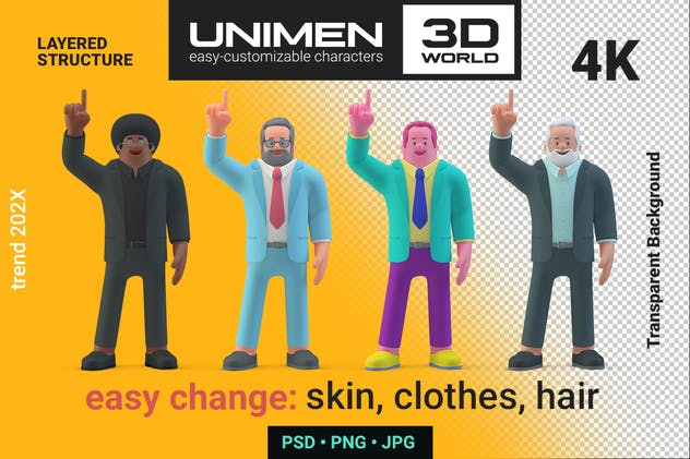 Man standing in Attention Pose Finger Up 3D style