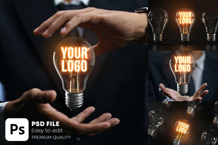 Thumbnail for Glowing Bulb Logo Mockup Bundle