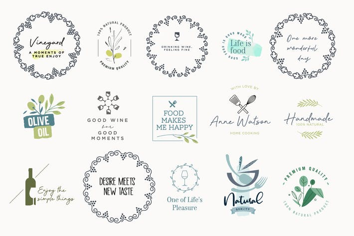 Set of labels and stickers for food and drink