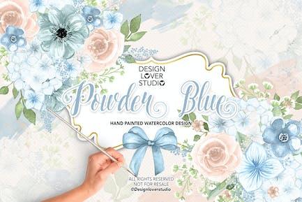 Watercolor POWDER BLUE design