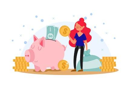 Woman Doing Savings Illustration