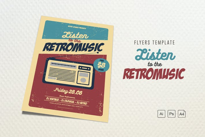 Thumbnail for Listen to the RetroMusic Flyer/Poster