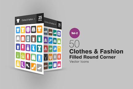 50 Clothes & Fashion Filled Round Corner Icons
