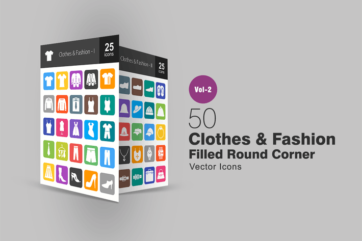 Cover Image For 50 Clothes & Fashion Filled Round Corner Icons
