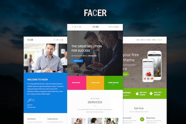 FACER - Responsive E-mail Templates set - product preview 0