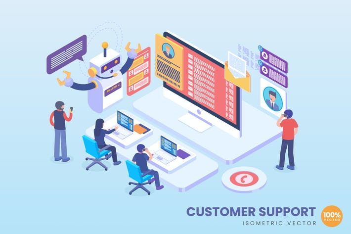 Thumbnail for Isometric Customer Support Concept