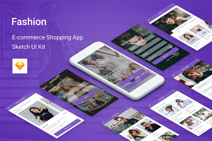 Thumbnail for Fashion - Ecommerce Shopping App for Sketch