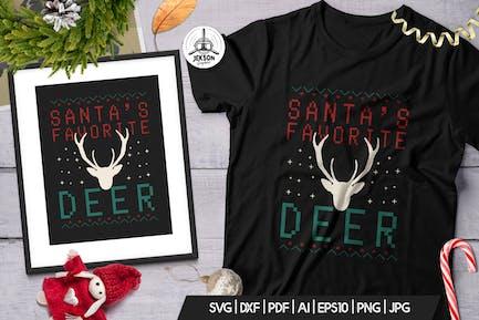 Santa Favorite Deer, Christmas Print TShirt Design