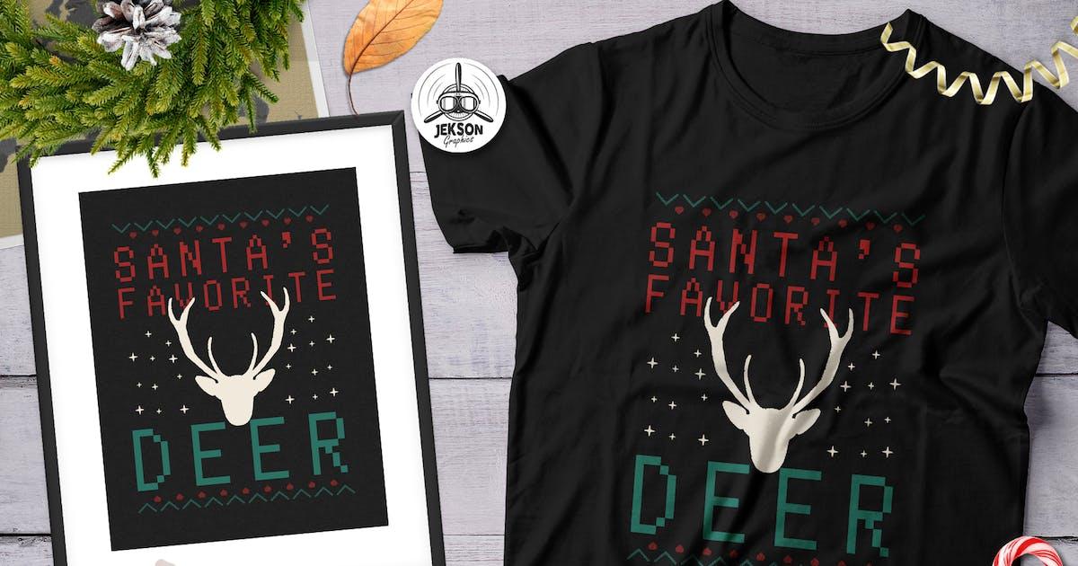 Santa Favorite Deer Christmas Print Tshirt Design By Jeksonjs On Envato Elements