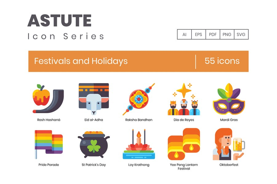55 Festivals and Holidays Icons - Astute Series