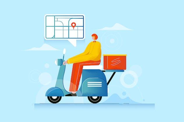 Food Delivery - Vector Illustration