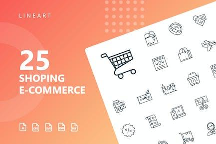 Shopping E-Commerce Line Icons