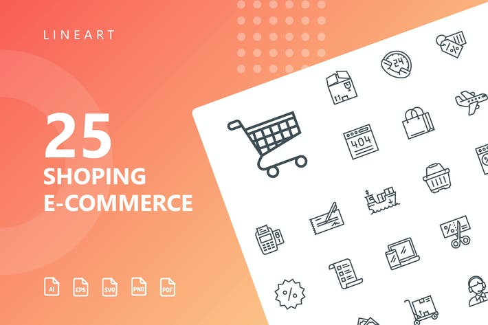 Thumbnail for Shopping E-Commerce Line Icons