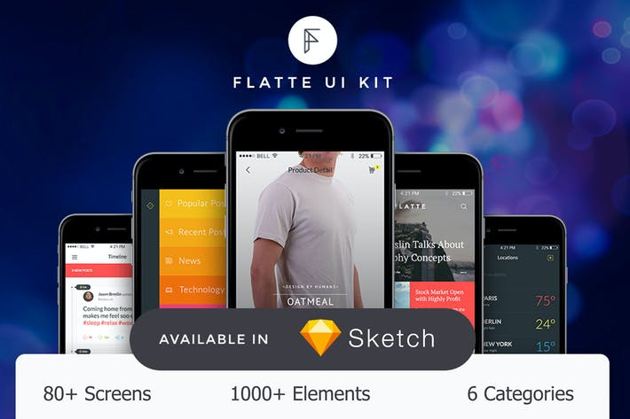 Thumbnail for Flatte UI Kit - 80++ for Sketch