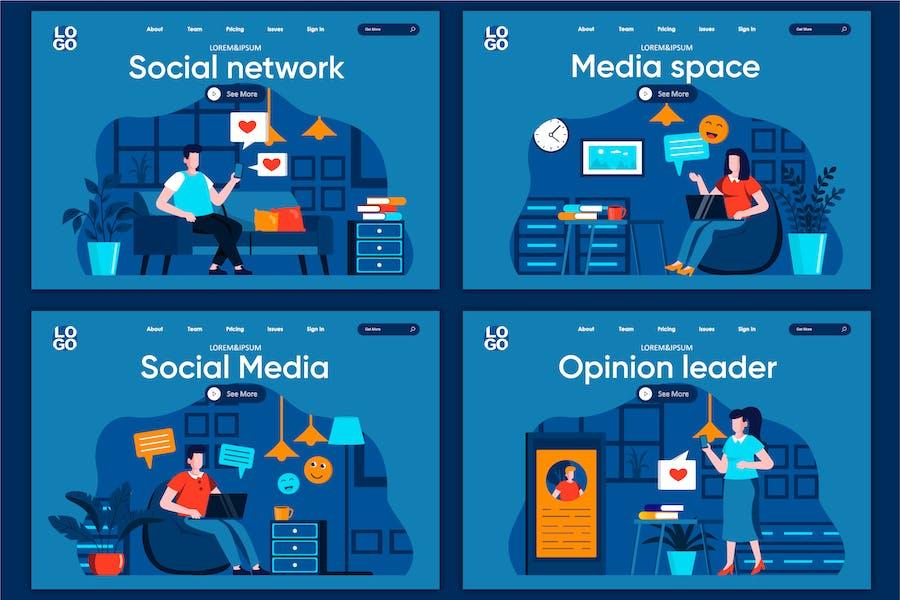 Modèle de page d'accueil Concept des médias sociaux