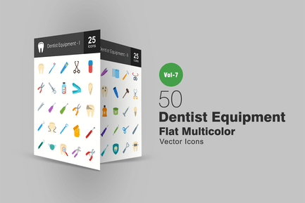 50 Dentist Equipment Flat Multicolor Icons