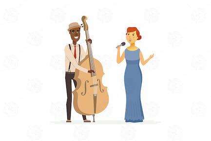 Musicians - cartoon people characters illustration