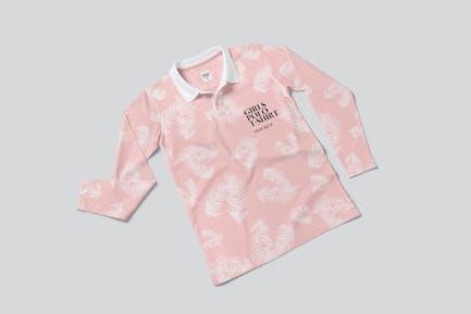 Girls Long Sleeve Polo Shirt Mockups