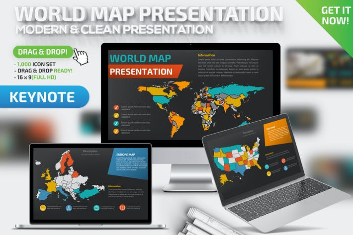 Thumbnail for World Map Keynote Presentation Template