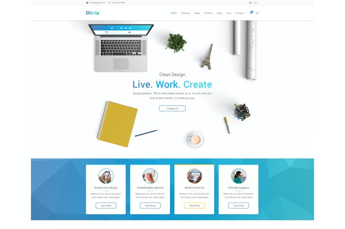 Thumbnail for Olivia Multipurpose PSD Template