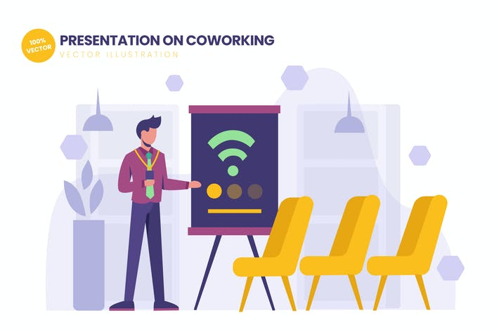 Thumbnail for Presentation On Coworking Space Flat Illustration