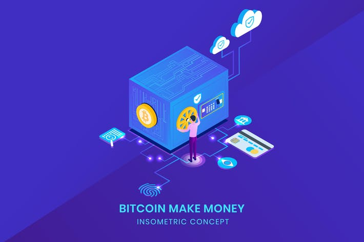 Cover Image For Cryptocurrency Safe Storage - Insometric Vector