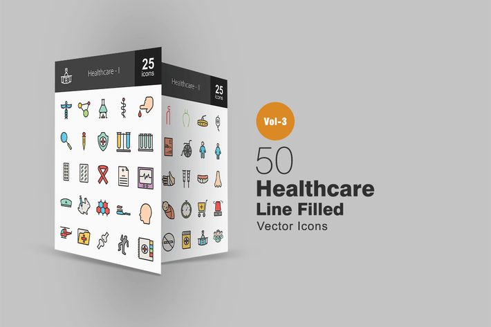 Thumbnail for 50 Healthcare Line Filled Icons