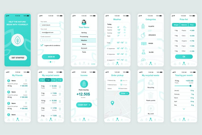 Thumbnail for Ecology Mobile App UI Kit