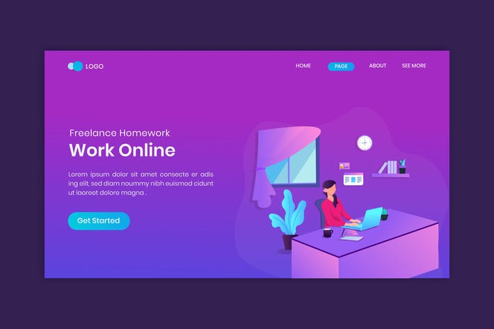 Thumbnail for Work at home freelancer concept on landing page
