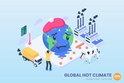 Isometrisches globales Heißklima-Konzept
