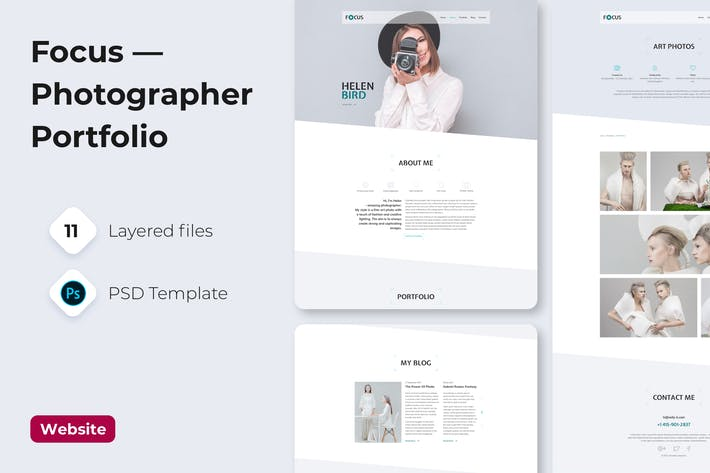 Thumbnail for Focus — Photographer portfolio PSD Template