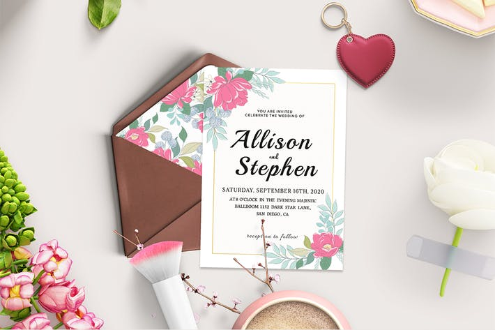 Thumbnail for Watercolor Flowers Wedding Invitation Template