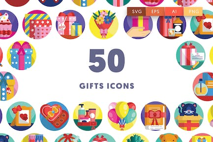 50 Gifts Icons