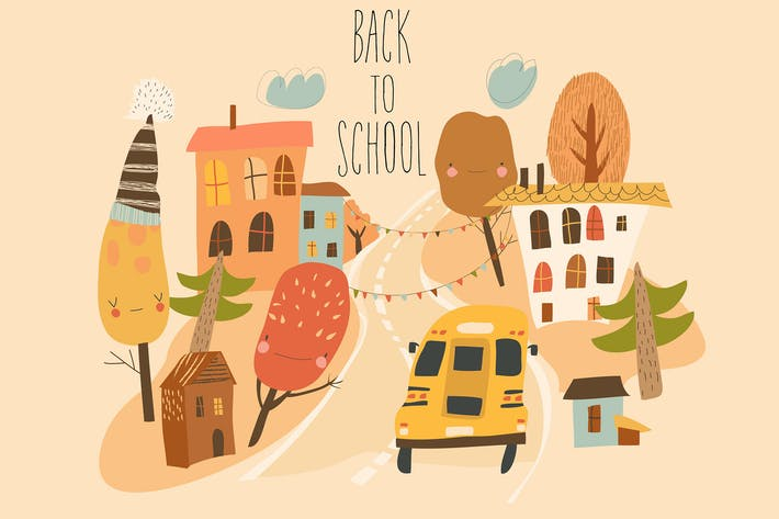 Thumbnail for School bus is driving on the road through small to