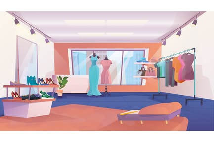 Clothing Store Interior - Illustration Background