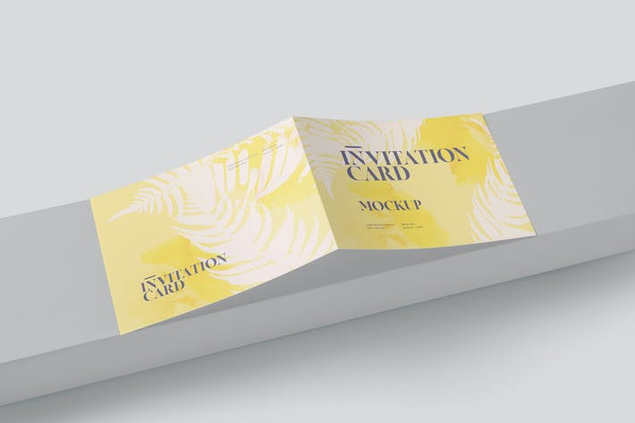 Thumbnail for Two Fold Landscape Invitation Card Mock-ups