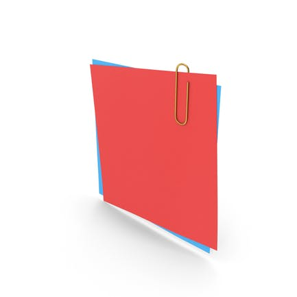 Papers With Paper Clip Red Blue