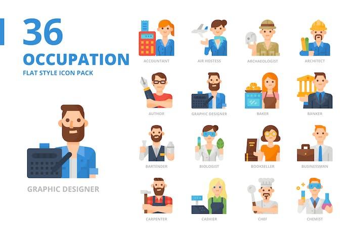 Оккупация Плоский стиль Icon Set