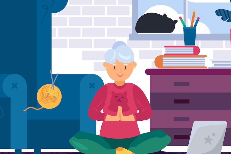 Oma macht Yoga zu Hause Illustration