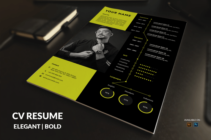Thumbnail for CV Resume Dark And Simple