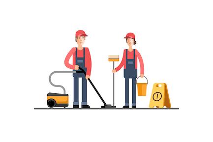 Joven Limpiador Mujer y Hombre Empresa de Limpieza