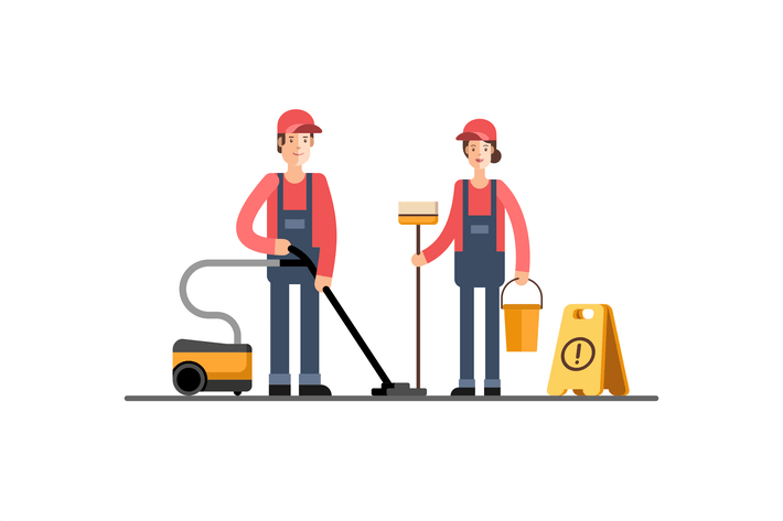 Thumbnail for Young Cleaner Woman and Man Cleaning Company