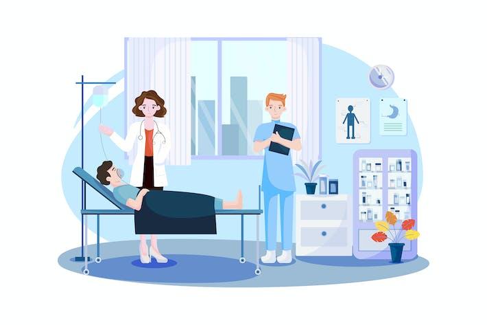 Patient liegt während einer intensiven Therapie im Bett