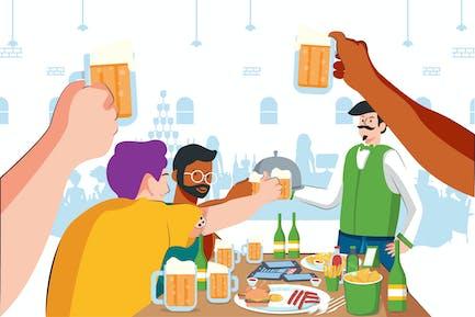 Friend Drink at Restaurant Illustration