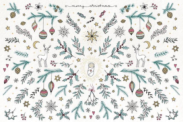 Thumbnail for Florales de Navidad dibujados a mano