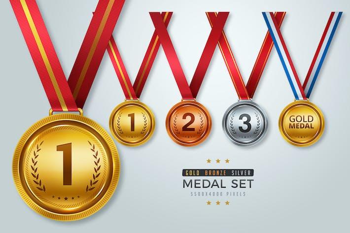 Medaillen-Set, Gold, Silber und Bronzemedaille