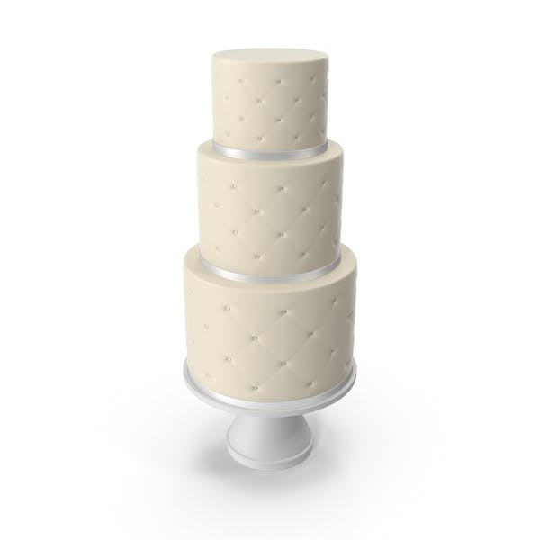 Cascade Cake with Decor of White Ribbon