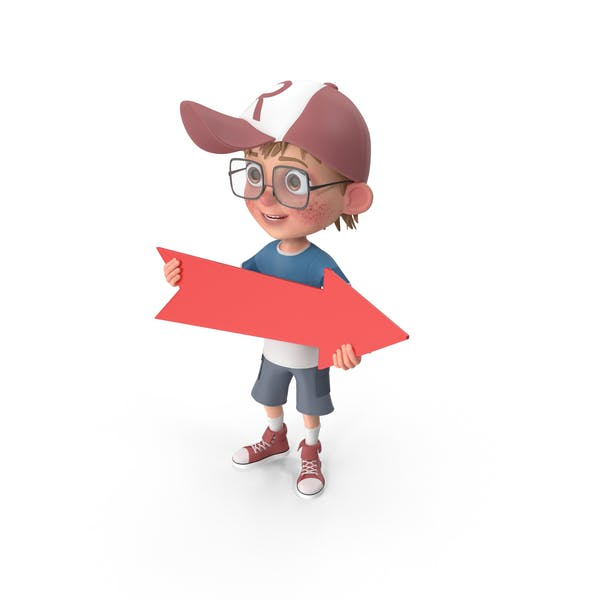 Cartoon Boy Holding Arrow