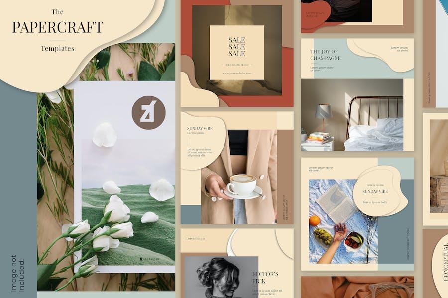 Paper craft social media graphic templates